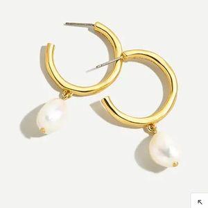 J. Crew Hammered Hoop Freshwater Pearl Earrings